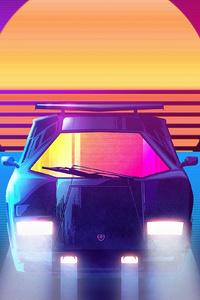 Lamborghini Countach Synhtwave 4k