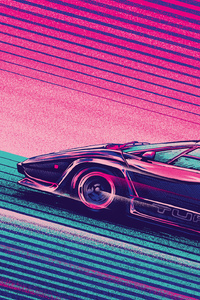 Lamborghini Countach Turbo Retro Artwork