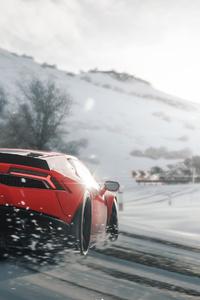 1080x1920 Lamborghini Huracan Drift In Snow Forza Horizon 4