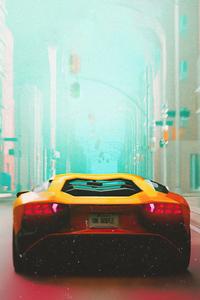 1080x2160 Lamborghini In Montreal Minimal 8k