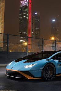 800x1280 Lamborghini Light Blue Metallic Coupe 5k