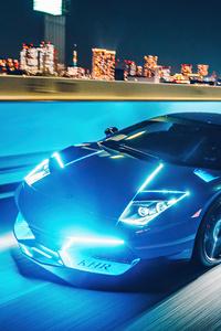 480x800 Lamborghini Murcielago Neon Lights 4k
