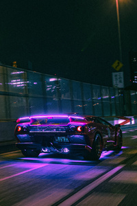 Lamborghini Neon Lights On Road 4k