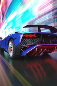 640x960 Lamborghini Rear Lights Digital Art