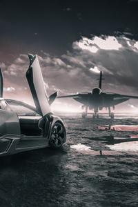 1080x1920 Lamborghini Reventon With Jet