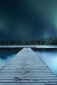 Landscape Jetty Lake Night Sky 8k