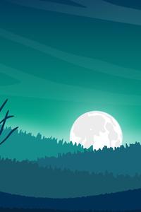 320x568 Landscape Moon Digital Evening 5k