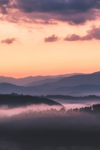 Landscape Mountains Clouds Sky Trees Sunrise 5k
