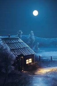 Landscape Night Moon Stars
