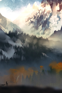 1280x2120 Landscape Scenery Moutain Autumn Digital Art 5k