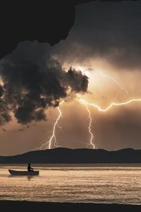 800x1280 Landscape Storm Rays Sea Clouds Cave Fantasy 8k