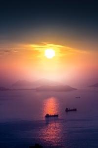 Landscape Sunrise Boat Mist Mountain Horizon