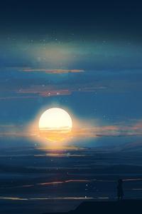 480x854 Landscape Sunset Evening Artwork 4k