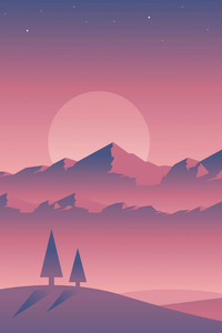 480x800 Landscape Sunset Minimal 4k