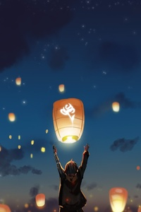 Lantern Night Clouds Lights Anime Stars