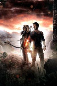 640x960 Lara Croft And Nathan Drake 5k