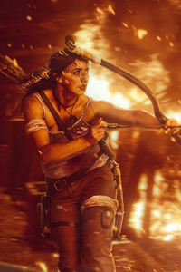 320x568 Lara Croft Crimson Fire