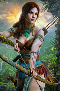 320x568 Lara Croft Hunter Girl 8k