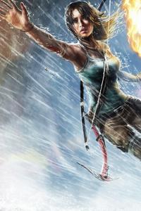 1242x2688 Lara Croft Tomb Raider Art 4k