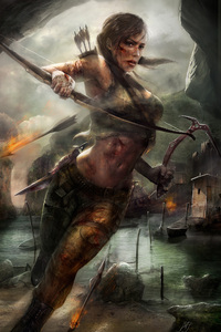 1280x2120 Lara Croft Tomb Raider Artwork