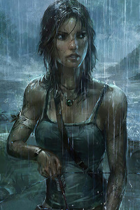 480x854 Lara Croft Tomb Raider Rain Weather 4k