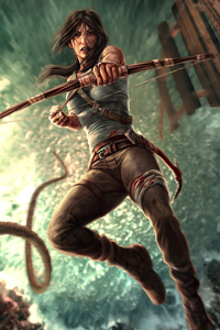 1440x2960 Lara Croft With Bow And Arrow