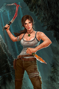 750x1334 Lara Croft With Weapons 4k