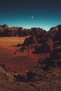 480x800 Late Evening Night Moon 4k
