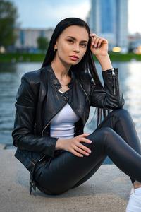 Leather Clothing Girl Long Black Hair 4k
