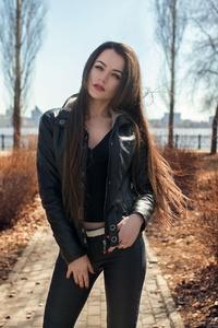 240x320 Leather Jacket Girl Outdoors