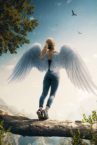 1080x2160 Lets Fly Angel Girl 4k