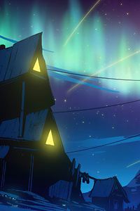 240x320 Life Cottage Aurora Northern Lights