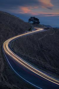 240x320 Light Trails Road 8k