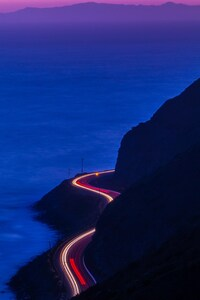 Light Trails Road Mountains