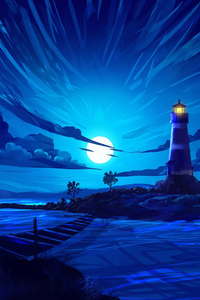 750x1334 Lighthouse Illustration 4k