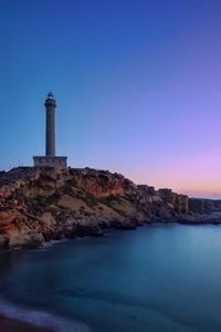 240x400 Lighthouse Rocks Sea Ocean 5k