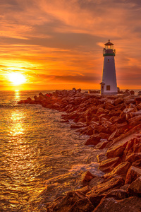 240x400 Lighthouse Sunrise And Sunset 4k