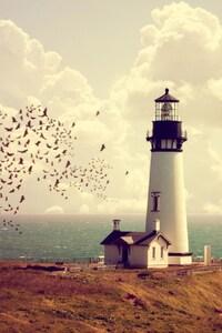Lighthouse Tower Sea Horizon