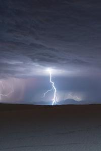 1242x2688 Lightning Over White Sands National Monument