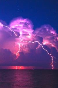 640x1136 Lightning Pink Sky 4k