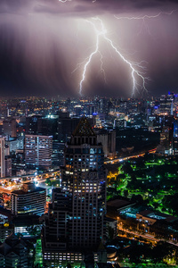 1125x2436 Lightning Storm At Night Bangkok 4k