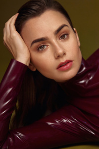 1440x2560 Lily Collins Vogue Arabia 5k