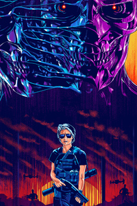 240x400 Linda Hamilton In Terminator Dark Fate Art
