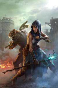Lion And Women Warrior Fantasy