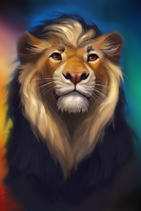 Lion Fantasy Colorful Art