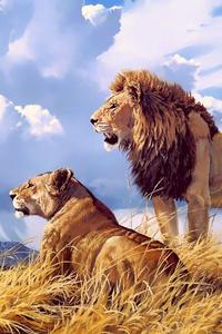 320x568 Lion Lioness Artwork 4k