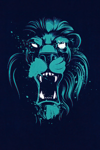 1125x2436 Lion Opening Mouth Illustration 4k