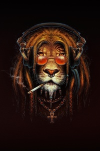 1440x2960 Lion Smoking Artwork