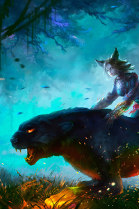 1242x2688 Lion Warrior Girl In Magical Forest For Hunt 4k