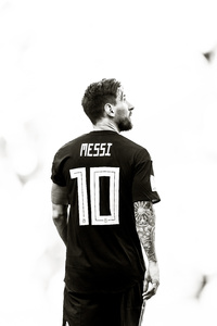 1440x2560 Lionel Messi Monochrome